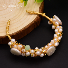 GLSEEVO Natural Fresh Water Baroque White Pearl Bracelets Gift For Women Adjusta