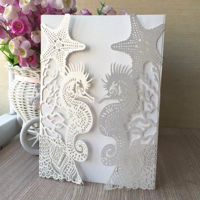 50pcs Laser Cut Sea Horse Glossy Paper Thanks Giving Birthday Greeting Invitation Card Beach Theme Wedding Cards