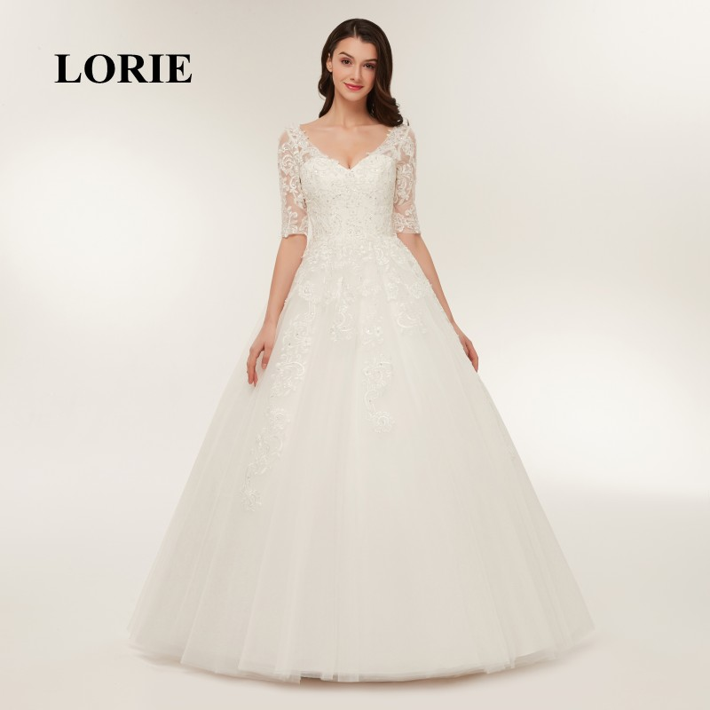 LORIE Lace Wedding Dresses Long Sleeve 2019 Ball Gown V Neck Appliqued Floor Length Lace up Bridal Gown Plus Size Free Shipping