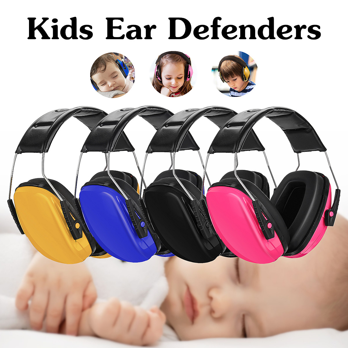 Kids Child Baby Earmuffs Hearing Protection Ear Defenders Noise Reduction Safety PVC+Sponge Yellow/Blue/Pink/Black AdjustableKids Child Baby Earmuffs Hearing Protection Ear Defenders Noise Reduction Safety PVC+Sponge Yellow/Blue/Pink/Black Adjustable