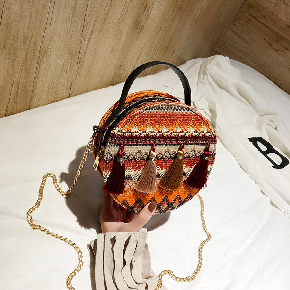 Women Tassel Chain Small Bags national wind round bag packet Lady Fashion Round Shoulder Bag Bolsos Mujer#A02 95