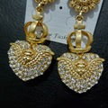 Europe matte gold retro stereo heart-shaped cupid wings crown luxury Earrings