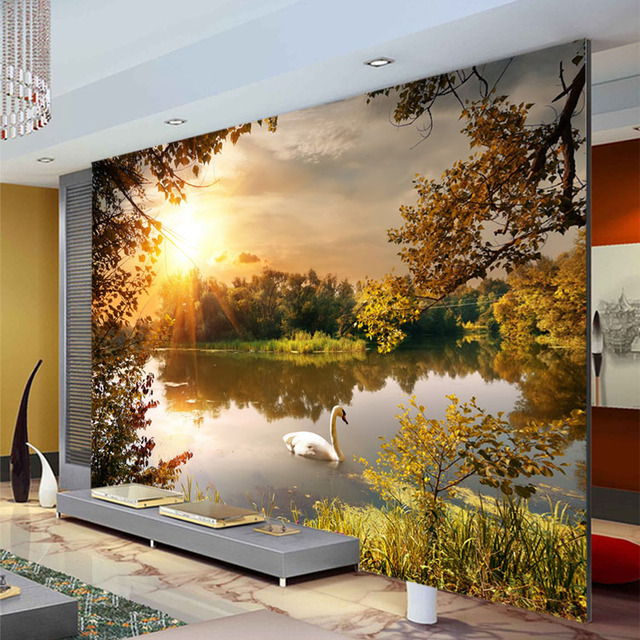 Trees Swan Lake Photo Wallpaper Sunshine Wallpaper Custom 3D Wall Mural  Natural Landscape Kids Bedroom Art Part 60