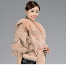 2016 New Fashion Womens Real Fox Fur Soild Coats Casual Genuine Fox Fur Jackets Winter Real Fur Outercoat LX00747