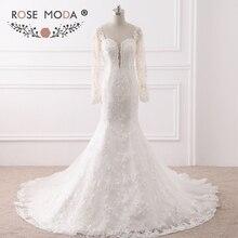 Rose Moda Long Sleeves Mermaid Wedding Dress Backless Lace
