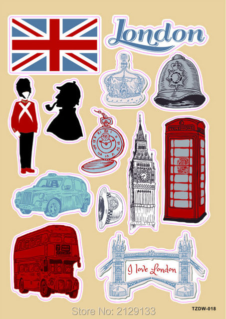 England london big ban cartoon postage stamp doodle pvc waterproof car sticker luggage suitcases guitar skateboard