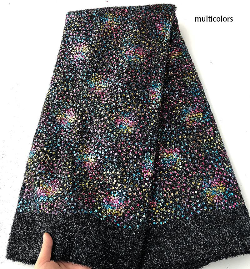 Allover sequins not transparent metallic mesh Lace African lace fabric Nigerian garment sewing clothes 5 yards