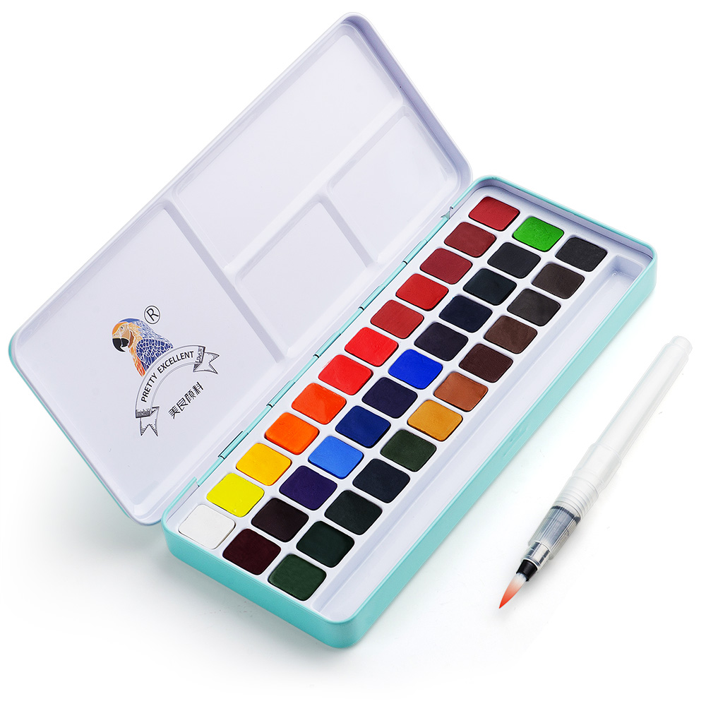 Watercolor-Paint-Set Paint-Brushes Palette Metal-Case 36-Colors Art Portable Solid Meiliang