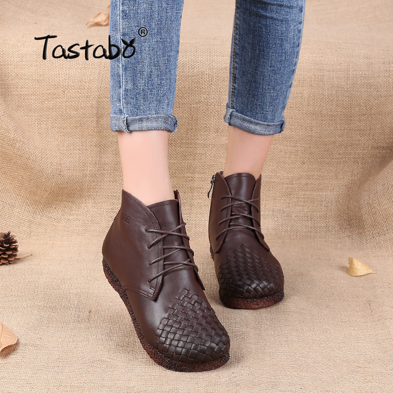 Tastabo Martin Boots Leather Shoes Weave Lace-Up Handmade Original Retro Round Flat Black Brown Plus Size 42 Boots Women Shoes taomengsi women s boots brown and brown plus velvet thickening martin boots front strap lace up round toe ladies boots