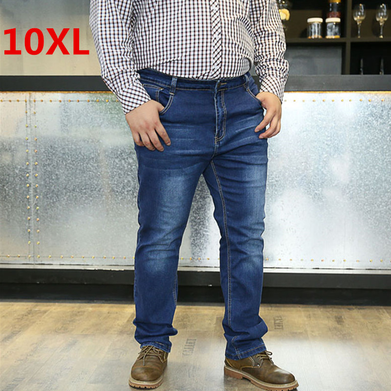 Plsu size 10XL 8XL 6XL 5XL 4XL Spring autumn mens jeans slim fitness cotton elastic pants male brand clothing denim trousers