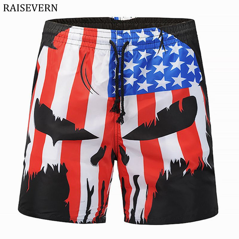 RAISEVERN 3D Print Men Shorts Skull Head Flag Casual Cool Summer Men Elastic Waist Beach Shorts Male Fitness Shorts EUR Size