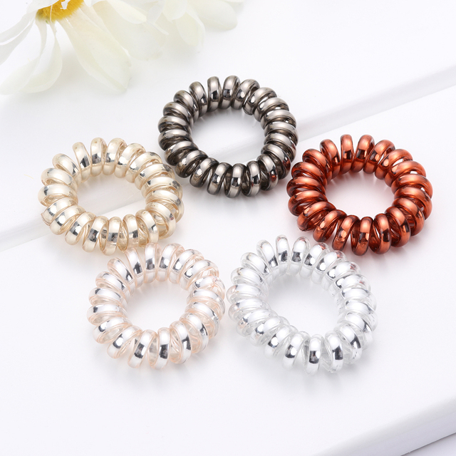 Spiral Shaped Rubber Elastic Hair Bands 2 and 5 pcs Set
