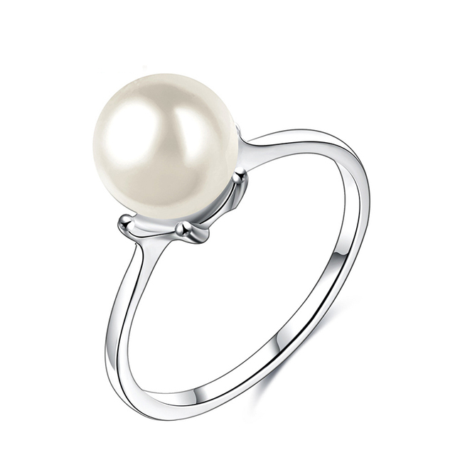 Imitation Pearl Ring For Women Jewelry Simple Thin Natural Silver Wedding Band a