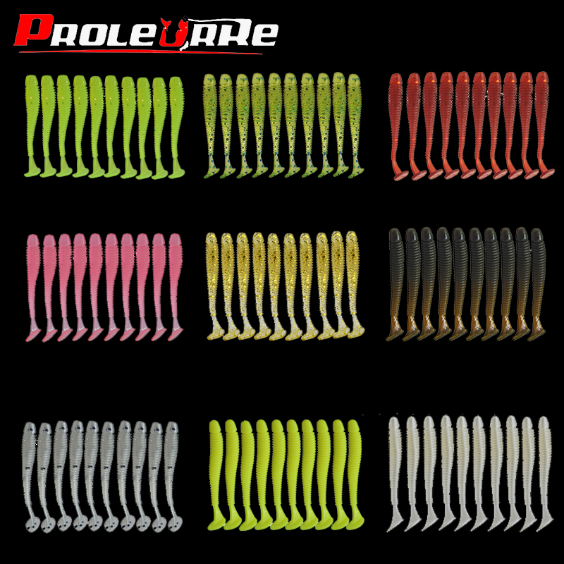 10Pcs/lot Wobblers Fishing Soft Lures Rubber Soft Baits 47mm 0.7g T-Tail Soft Worm Artificial Baits Bass Silicone Fishing Baits