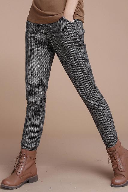 HCXR 2016 novo inverno Coreano calças de algodão elástico da cintura calças com listrado Haren calças compridas calças casuais das mulheres Topos Qulity