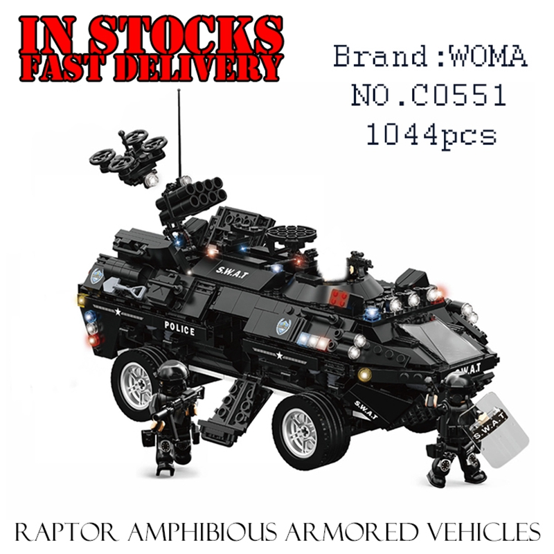 WOMA C0551 Raptor Amphibious Armored Vehicles 1044pcs Building Blocks Bricks enlighten toy for children Birthday gift brinquedos детектор skil 0551 ab