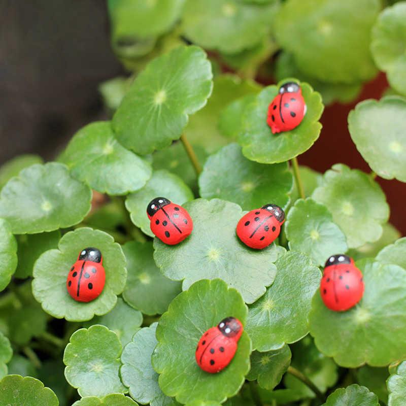 10 個ミニテントウムシ赤カブトムシてんとう虫の妖精人形家の庭の装飾オーナメント