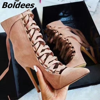 Army Green Black Grey Pink Womens Shoes Faux Suede Cross-tied Strappy High Heels Pointed Toe Lace Up Ankle Boots Sexy Stilettos