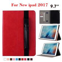 "For iPad 9.7 2017 New Filp PU Leather Case Tablet Protective Stand Shell Skin For Apple iPad 2017 9.7"" Smart Cover + Card Slots"