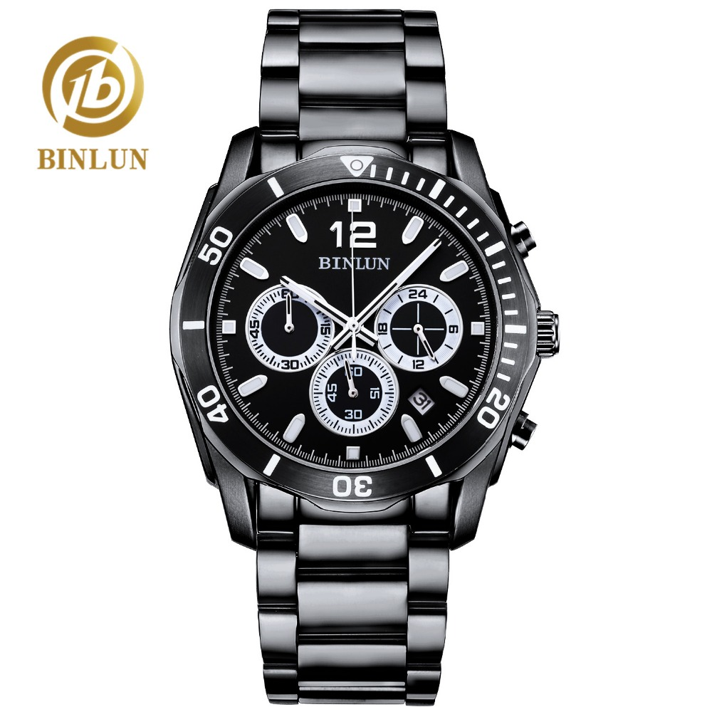 BINLUN Fashion Black Daytona Men's Sport Watch Waterproof Stainless Steel Scratch-proof 3 Dial Date Display Men's Quartz Watch