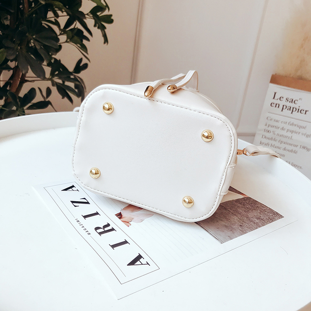 LEFTSIDE Drawstring Bucket Bag For Women 2019 Mini PU Leather Crossbody Bags Ladies Shoulder Bags Female Handbags Pure Color