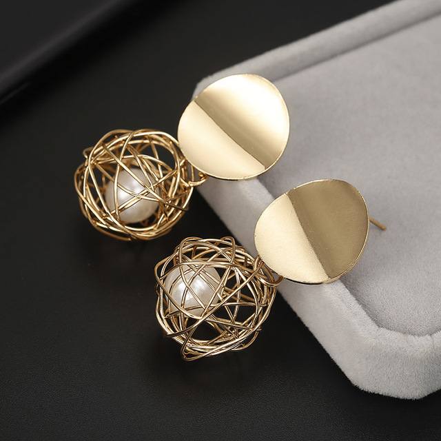Women Golden Color Round Ball Earrings For Party Wedding