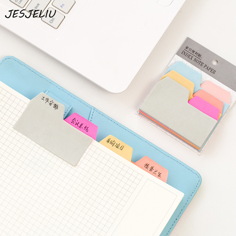 6 Colors 90 Sheets Writeable Index Note Paper Sticky Notes Post It Stationery Office Accessory School Supplies 200 sheets 2 boxes 2 sets vintage kraft paper cards notes filofax memo pads office supplies school office stationery papelaria