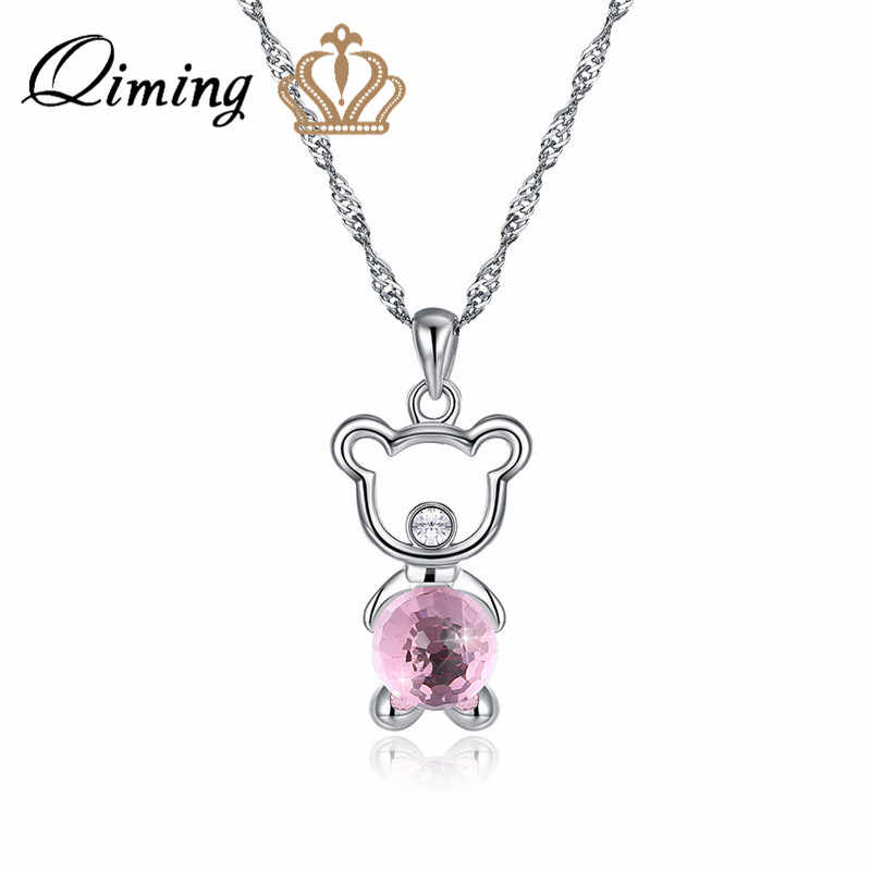 QIMING Little Bear Pendant Necklace For Women Baby Kids Children Jewelry Silver Chain Cute Lovely Animal Necklace Party Gift