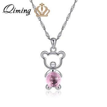 QIMING oso colgante de collar para las mujeres bebé niños cadena de moda de joyería de animal encantador bonito collar de regalo