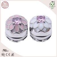 Nueva llegada popular estilo Spring esmalte S925 plata esterlina Lotus Flower charm clip para famosa pulsera de plata