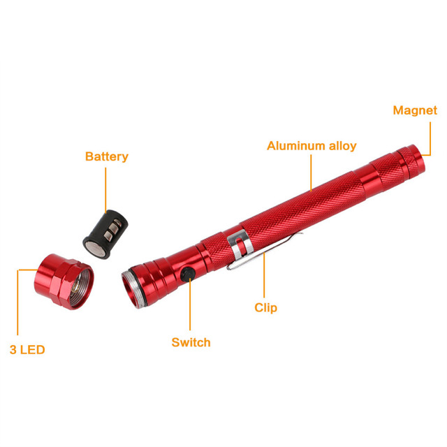 Flexible Magnetic Pickup Telescopic Flashlight
