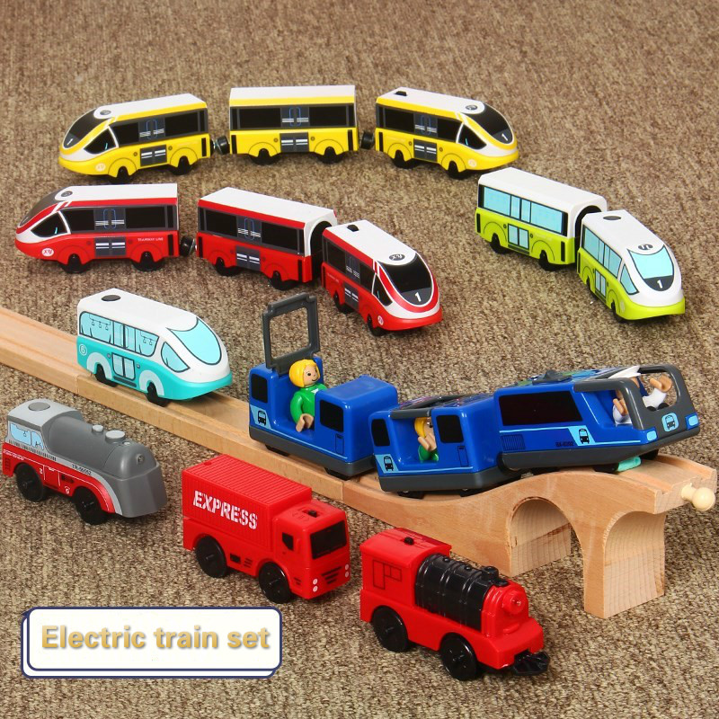 Kids Electric Train Toys Set Magnetic Train Diecast Slot Toy Fit For Standard Wooden Train Track Set Wooden Railway Brio