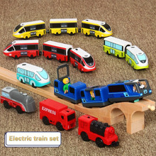 Kids Electric Train Toys Set Magnetic Train Diecast Slot Toy Fit for Standard Wooden Train Track Set Wooden Railway Brio electric train track set magnetic educational slot brio railway wooden train track station puzzles car toys for kids children