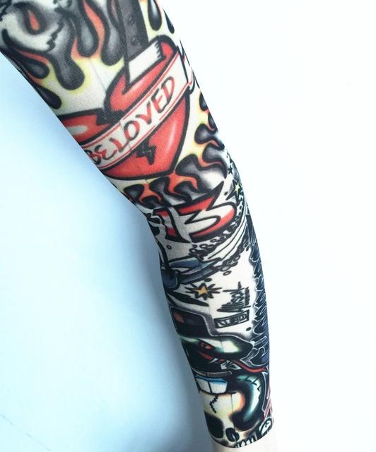 8 Pcs New mixed 100%Nylon Elastic Fake Temporary Tattoo Sleeve Designs Body Arm Stockings Tatoo for Cool Men Women Free shipping
