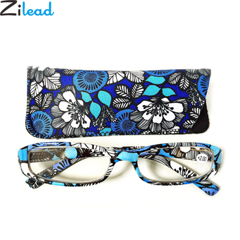 Zilead Retro Women Floral Portable Reading Glasses Resin Clear Lens Presbyopic Glasses Eyewear With Case+1.0to+4.0 Unisex