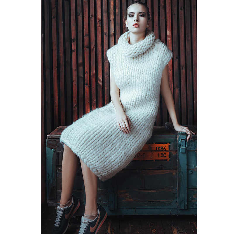 Winter pure hand-made long sweater vest 5XL Large size Sweater Thick Warm White Sweater Super chunky Turtleneck sweater dress