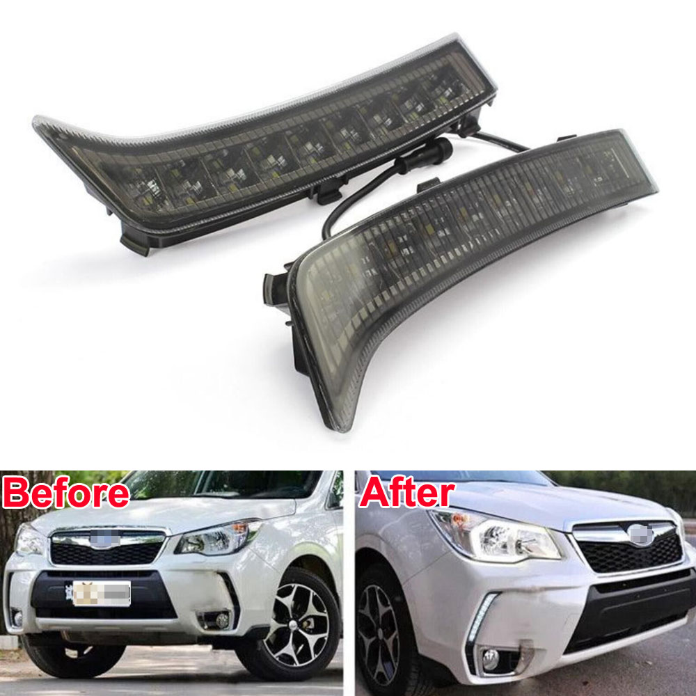 BBQ@FUKA 2pcs Brand New LED Daytime Running Light 9 Lamp DRL Fog Lamp Fit For Forester 2013-2015 Car-Styling Auto Accessories one stop shopping for k2 drl 2014 2015 new rio led drl k2 daytime running light fog lamp automotive accessories