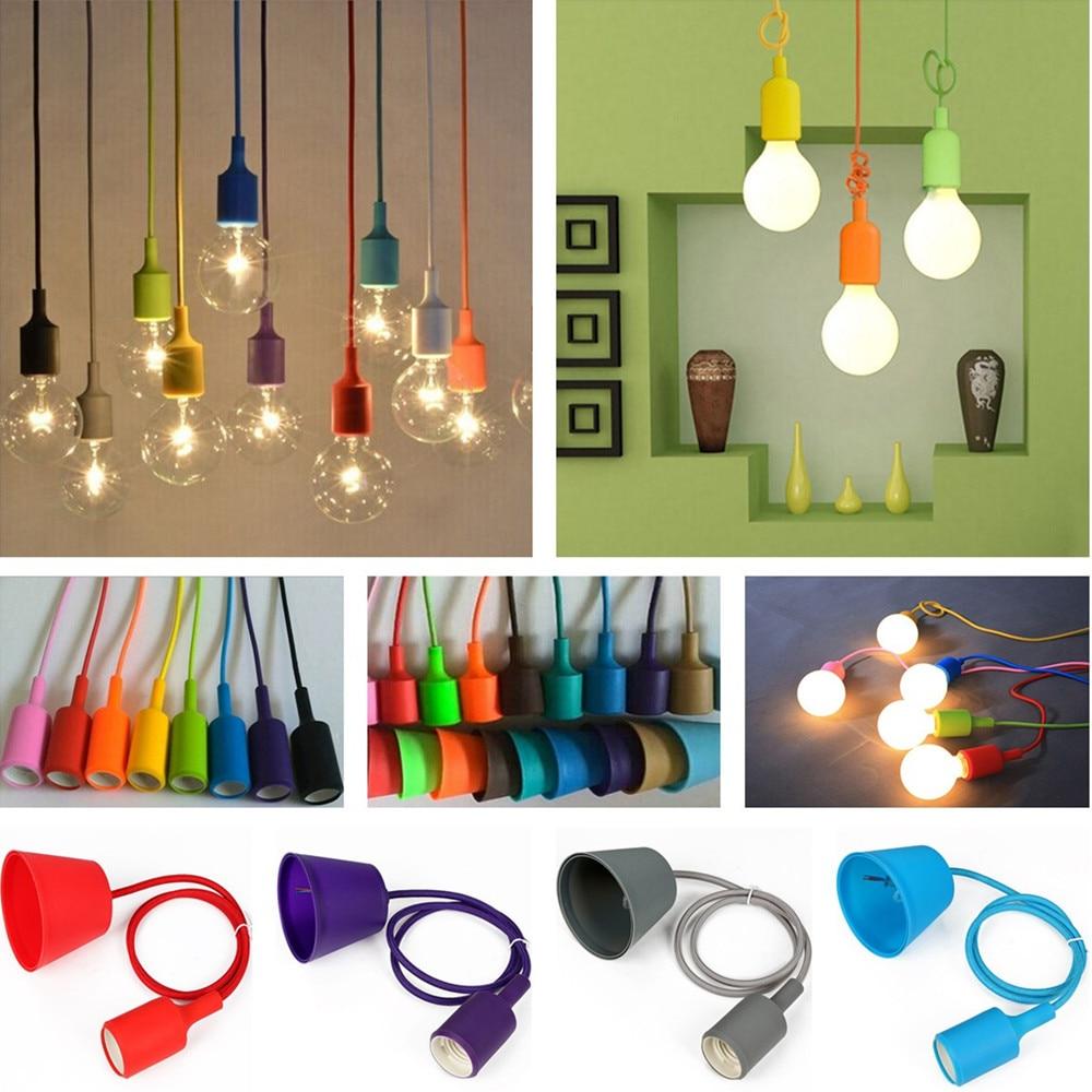 Details about e27 type plug in hanging pendant light fixture lamp bulb - E27 Base Screw Ceiling Rose Led Pendant Light Lamp Bulb Silicone Gel Holder Adapter Socket Converter