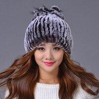 Woman Winter Plus Size Gradient Thick Elasticity Rabbit Fur Skullies & Beanies Lady Stretch Warm Fox Furear Protection Caps D12