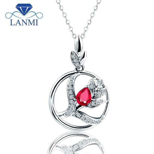 2d1441dbd51f Amar solid 14 K oro blanco diamante rubí joyería boda colgante collar para  damas regalo de