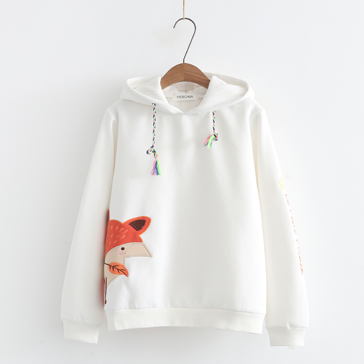 2018 Autumn Winter Kpop New Mori Girl Women Hoodies Coat Printed Embroidery Fox White Thicken Plus Velvet Hooded Sweatshirt Tops