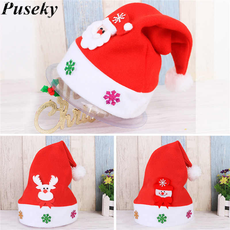 2017 1pc New Kids Santa Snowman Christmas Hat Baby Boys Girls Cute Reindeer Christmas New Year Gifts Caps Beanie For Children Home & Garden