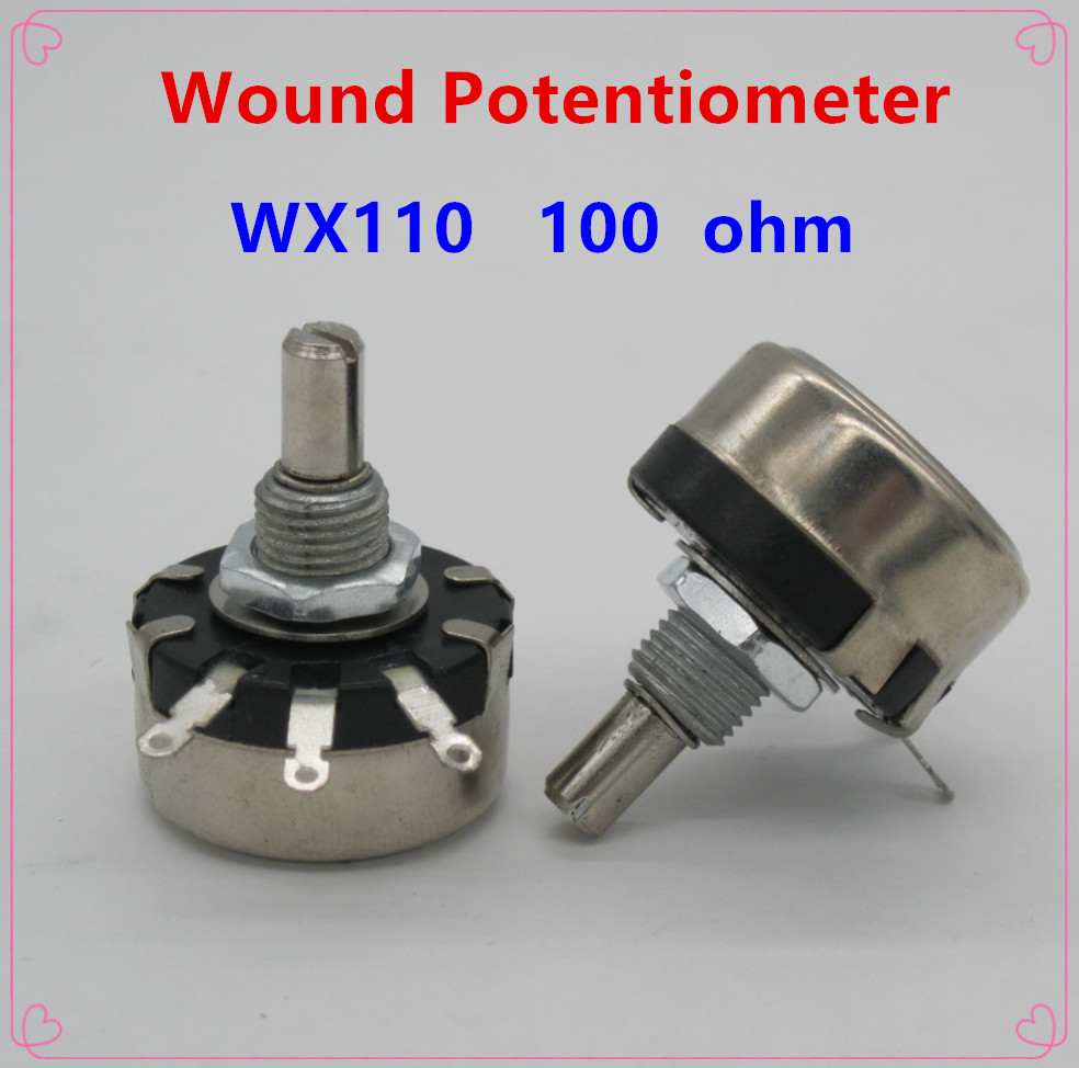 5pcs WX110(010) 100 Ohm 3 Soldering Terminals 6mm Round Metal Shaft Single Turn Wire Wound Potentiometer