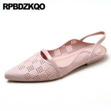 Chiny oddychające szpiczasty nosek slingback panie piękne mieszkania buty sandały projektant slip on różowy elegancki galaretki tanie kobiety fioletowy
