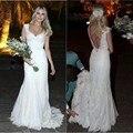 2015 Спинки Кружева Пляж Свадебное Платье 2016 Сверкающих Блестками Аппликации Спагетти Свадебные Платья Свадебные Платья vestido де noiva