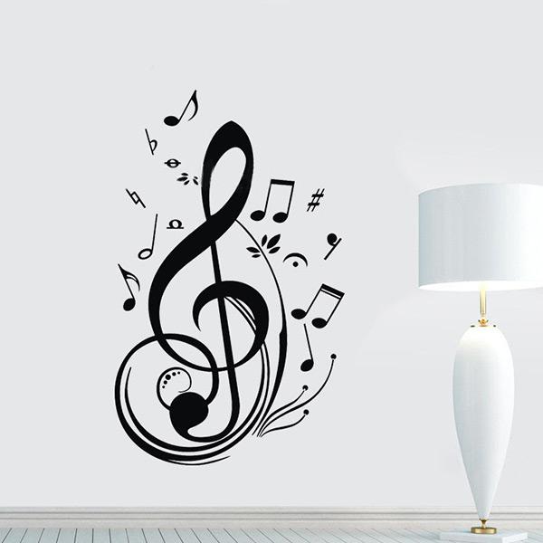 nueva moda nico negro music note notas tatuajes de etiqueta de la pared de la sala