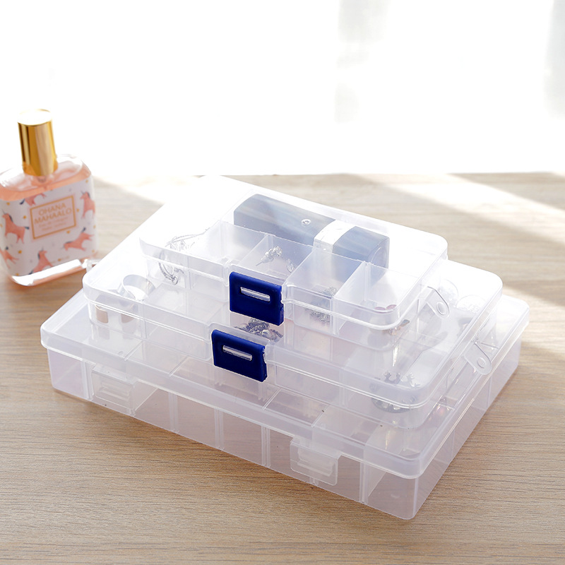 Plastic Compartment Adjustable Jewelry Necklace Clear Storage Box Case Holder Craft Organizer