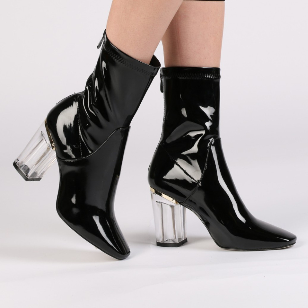 Fashion Designer Patent Leather Womens Boots High Waterproof Rainboots European Style Ankle Boot with Transparent Heel