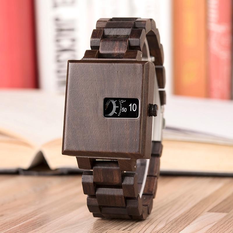 93a2a202c9 Reloj para hombre de madera de BOBOBIRD con diseño cuadrado elegante,  delicado, pequeño, reloj masculino, Relojes personalizados C-dR23