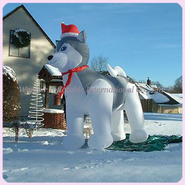 large lowes outdoor lovely husky dog christmas inflatable yard decoration